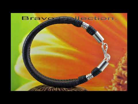 B-880 HOW TO BUY Sterling Silver & Kangaroo Leather Wristband Bracelet.