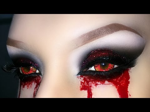 Sexy Vampire / Demon / Zombie / Witch  Smoky Eyes with Glitter - Halloween Makeup Tutorial 2016