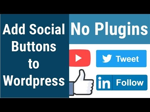 How to add social like & share buttons of YouTube, Facebook, Twitter & Linkedin without any plugins