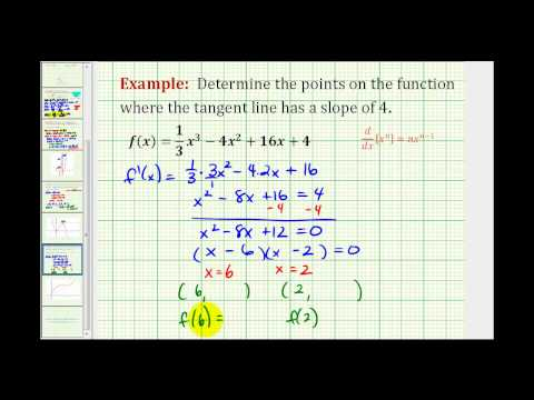 Ex:  Determine the Points on a Function When the Tangents Lines Have a Given Slope