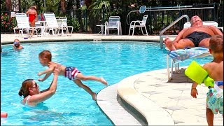 Toddler Learns How To Jump Into The Pool!