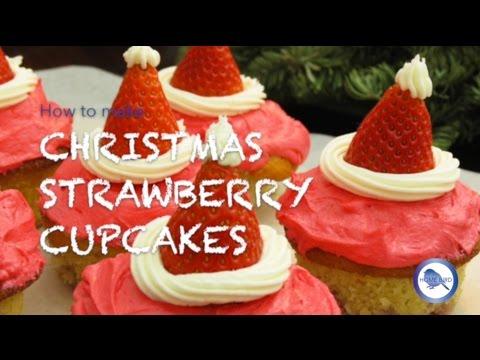 How to make Christmas Cupcakes - Strawberry Cupcakes recipe | Home Bird