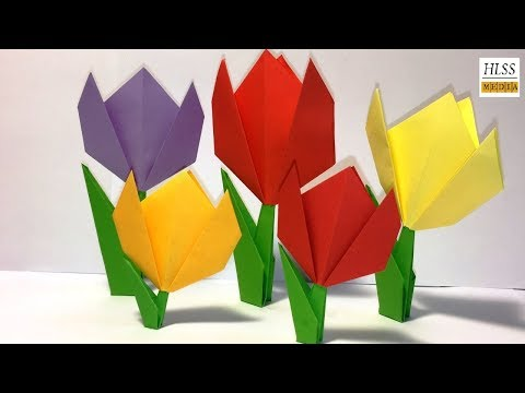Easy paper tulip origami flower | simple tutorial for beginners  step by step