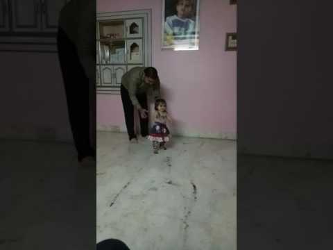 My Brother's daughter walking first time. See her reaction was amazing