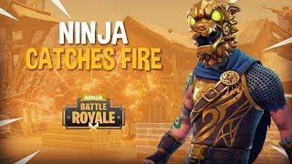 Ninja Catches Fire!?! - Fortnite Battle Royale Gameplay - Ninja