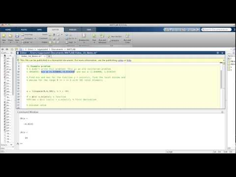 MATLAB Video 18: Using min/ max functions to find local minima/ maxima