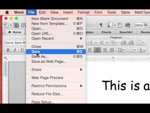 Saving an MS Word document as a PDF: Mac version