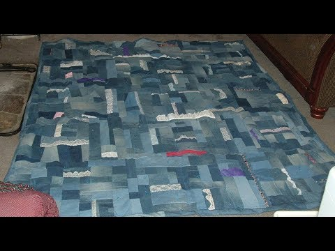Vintage Lace and Denim Jean Scrappy Quilt 2010