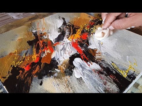 Very EASY Abstract painting / Only using piece of cloth / Acrylics / Demonstration