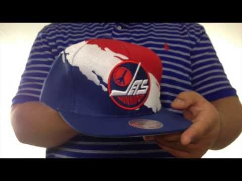 1c5994eb91d Jets  PAINTBRUSH SNAPBACK  Red-White-Navy Hat by Mitchell   Ness