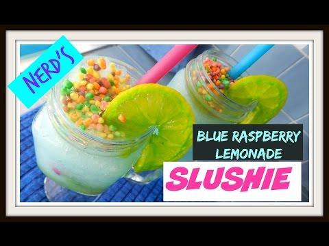 Nerd's Blue Raspberry Kool-Aid Slushie + DIY Food Colored Lemon Wedges!