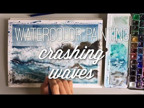 Crashing Waves - Watercolor Painting