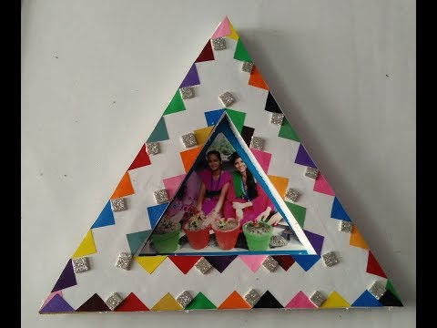 How to make hand made photo frame   thermocol photo frame   triangle shape photo frame
