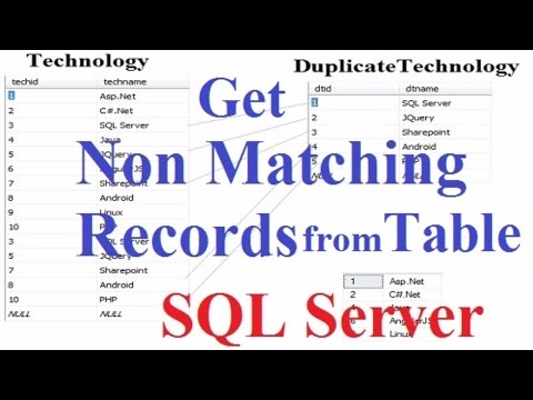 SQL Server get non matching records from 2 table