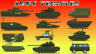Army Vehicles   Car Videos For Kids   Military Cartoons