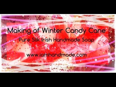 Making of Winter Candy Cane Pure Silk Soap www.iamhandmade.com
