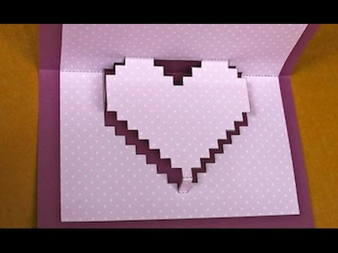 How to Make a pop-up pixelated heart card for Valentine's Day