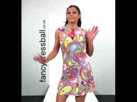 70's Paisley Go Go Girl Dress Ladies Fancy Dress Costume
