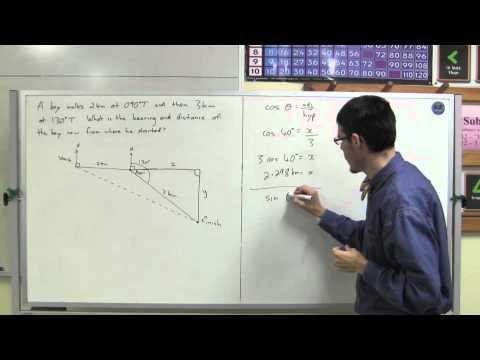 Solving bearings problems using trigonometry