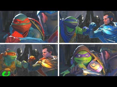 Injustice 2 - TMNT (Ninja Turtles) Vs Superman -  All Intro Dialogue/All Clash Quotes