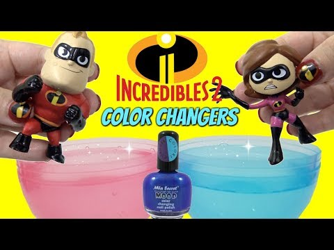 DIY THE INCREDIBLES 2 Toys Color Change Nail Polish with Mr. Incredible VS Baby Jack Jack