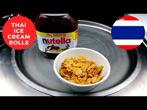 THAI ICE CREAM ROLLS Nutella Corn Flakes Fastcut ❤🇹🇭 Satisfying ASMR