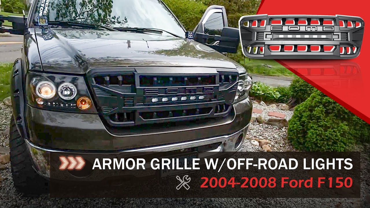 2004-2008 Ford F150 Armor Grille w/ Off Road Lights Installation   AMERICAN MODIFIED