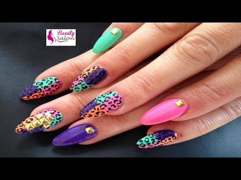 Multicolored Water Marble Nail Art | Easy Water Marble Nail Art | Beauty Salon