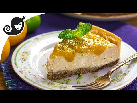 Vegan Cheesecake with Plum Compote | Nut-free + Soy-free + Gluten-free | Vegan Recipe