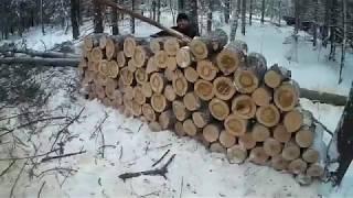 Работа кипит,продолжаем заготовку дров,день 5, ещё одна машина,