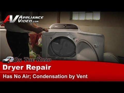 Whirlpool, Kenmore Dryer Repair - Replacing blower wheel, pulley & belt - condensation by vent