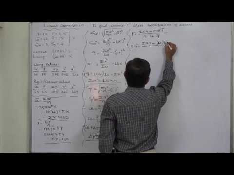 Linear Correlation 27 Rectifying error in data and finding correct coefficient