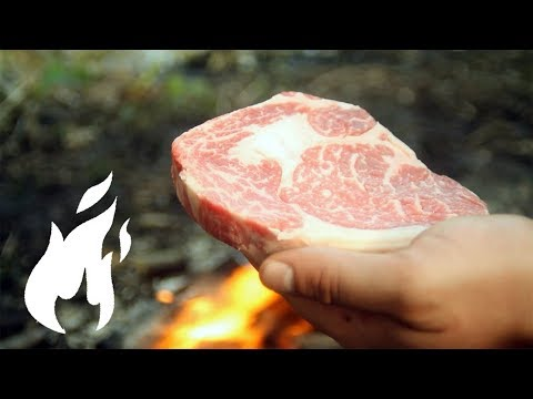 Ultimate KOBE Wagyu Beef Steak on FIRE in NATURE with KING MUSHROOMS