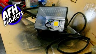 DIY Convert old halogen floodlight to 50w LED floodlight | No driver needed