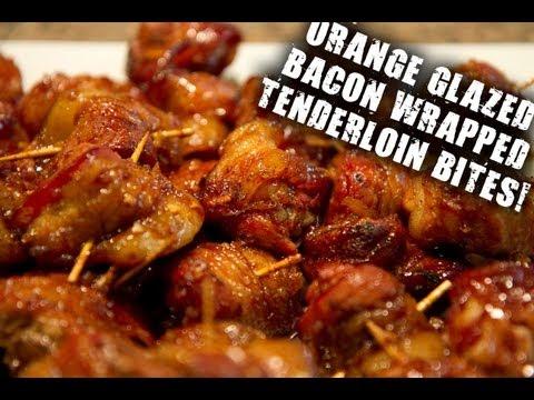 Orange-Glazed Bacon-Wrapped Pork Tenderloin Bites