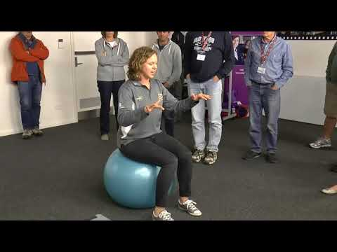 How to practice on a fit ball to improve your balance in the boat