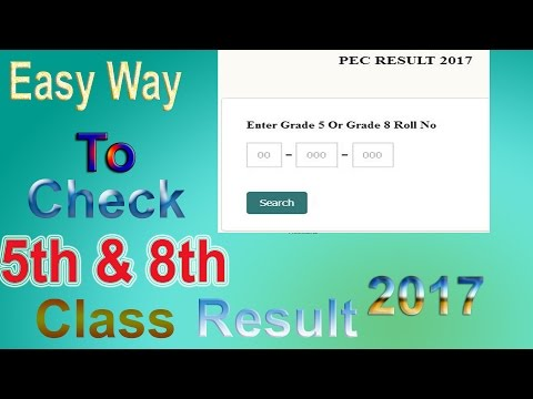 8th and 5th class result 2017 Very easy to check online