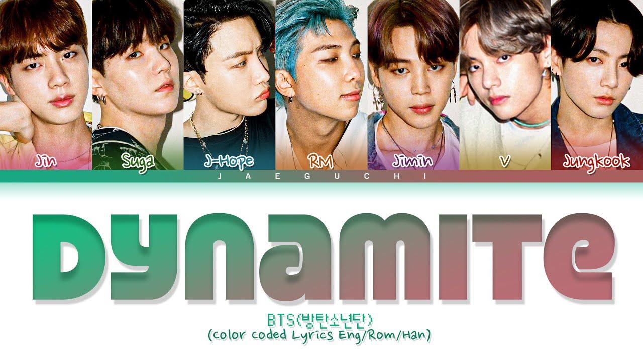 "BTS 'Dynamite' "" (방탄소년단 Dynamite 가사) (Color Coded Lyrics)"
