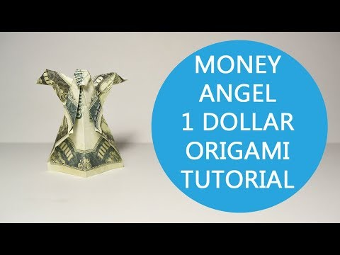 Money Angel Origami One Dollar Bill Tutorial DIY Folded No glue
