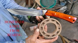 AMAZING RECYCLING / HOW TO MAKE A BEAUTIFUL KNIFE FROM RUTY BEARING ( HOMEMADE KNIFE )