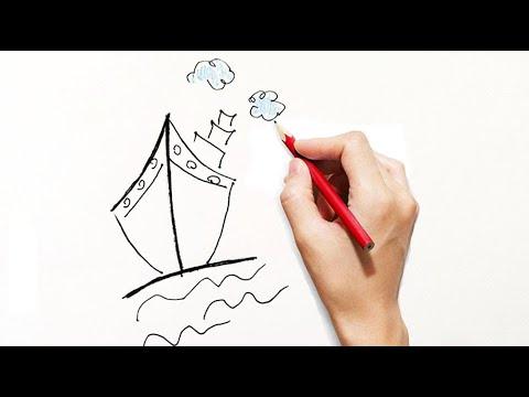 Come disegnare una barca per bambini partendo dal numero 1