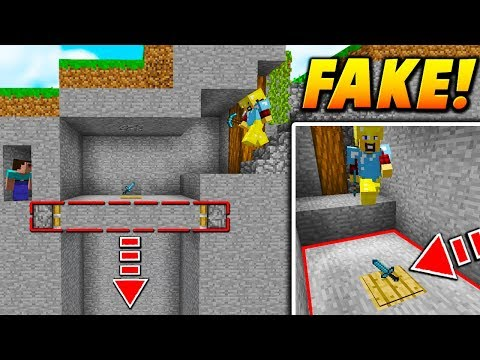 FAKE DIAMOND SWORD TRAP! - Minecraft SKYWARS TROLLING (PISTON FLOOR!)