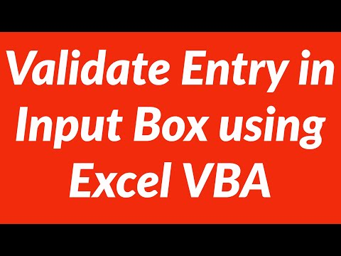How to automate capture and validation of user input via input box using VBA in Excel
