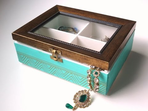 DIY Jewelry Box Organizer With Glass See Through Lid