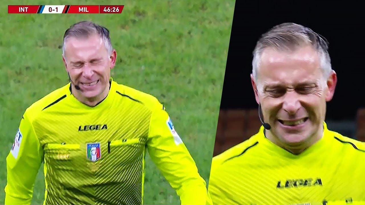 When Referee Paolo Valeri Was Injured During The Match  Inter Milan vs AC Milan