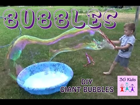 DIY Giant Bubbles How to Make Giant Bubbles Fun with Giant Bubble Maker wand and hoops episode #1