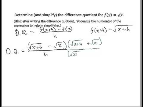 Determine Difference Quotient Radical
