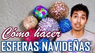 Como Hacer Esferas Con Diamantina Para El Arbol De Navidad