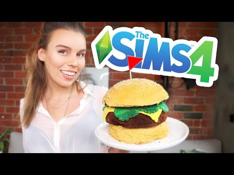 BAKING THE SIMS 4 BURGER CAKE!!  The Sims Cooking!