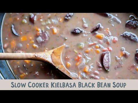 Slow Cooker Black Bean and Kielbasa Soup